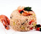 Timballo di riso con gamberetti alla paprika