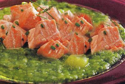 Salmone con crema alle zucchine