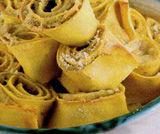 Torretta di pasta con carciofi e salsina di carote