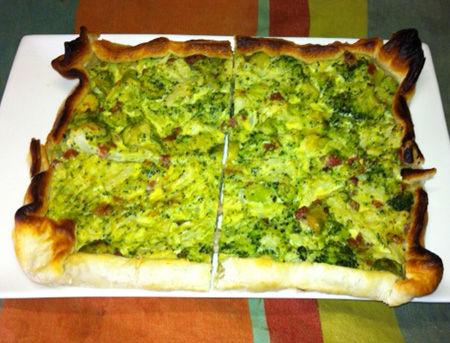Torta salata con verdure e pancetta affumicata