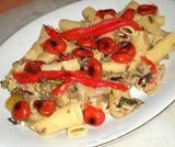 Elicoidali con peperoni, melanzane, pachino e ricotta salata