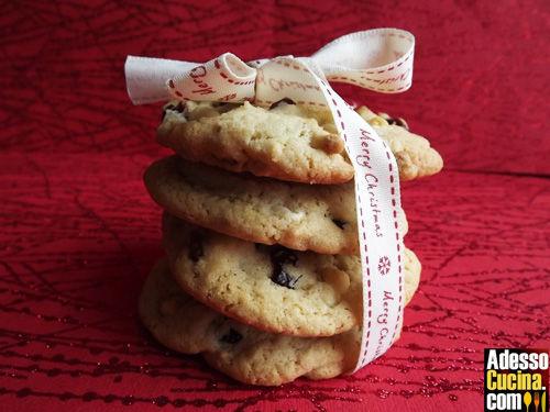Cookies ipocalorici al cioccolato bianco e mirtilli rossi