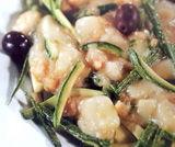 Pecorino fresco con zucchine ed olive nere