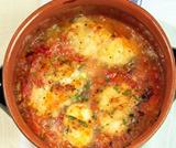 Sformatino di polenta con coda di rospo in guazzetto
