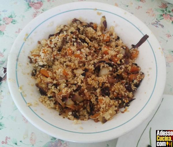 Cous cous di zucca, lenticchie e radicchio