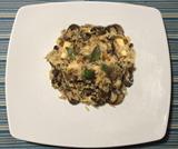 Riso con funghi, asparagi e tofu