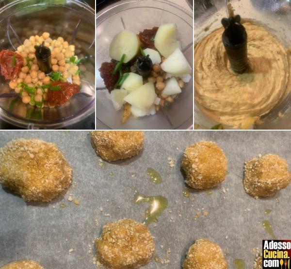 Polpettine di ceci, patate, pomodori secchi e senape al forno